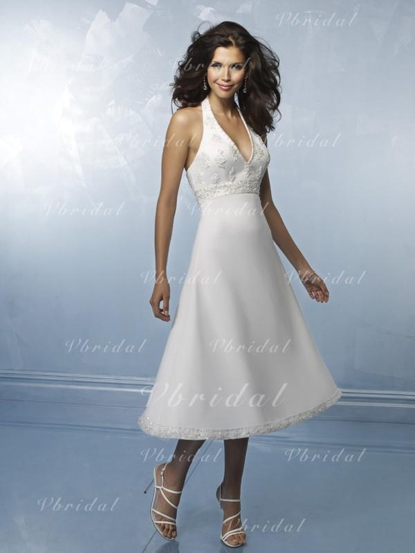White Halter Tea Length Wedding Dress