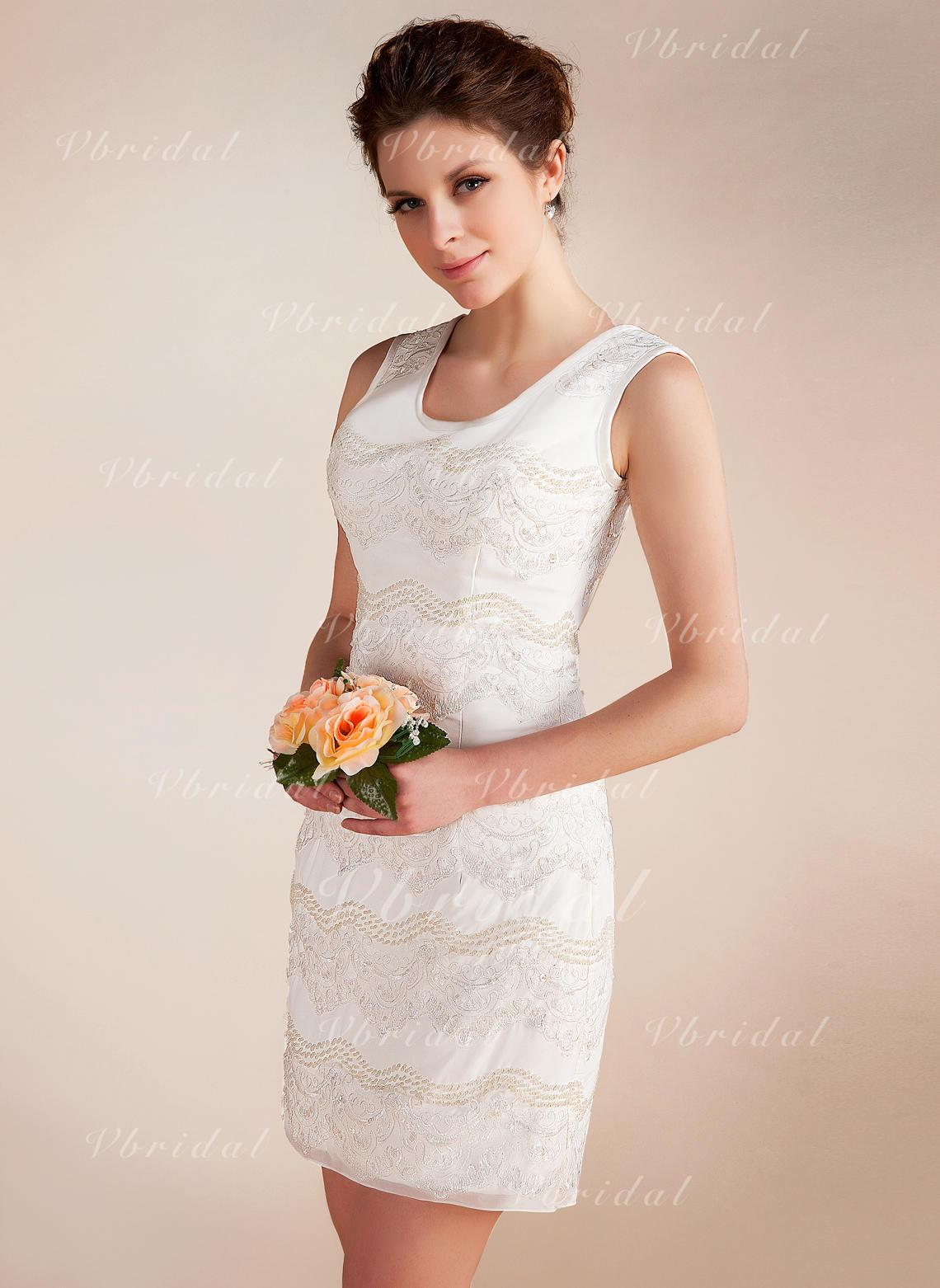 40dd9a8c373d9 Forme Fourreau Col rond Court Mini Mousseline Robe de mariée avec Dentelle  Emperler (002012815)