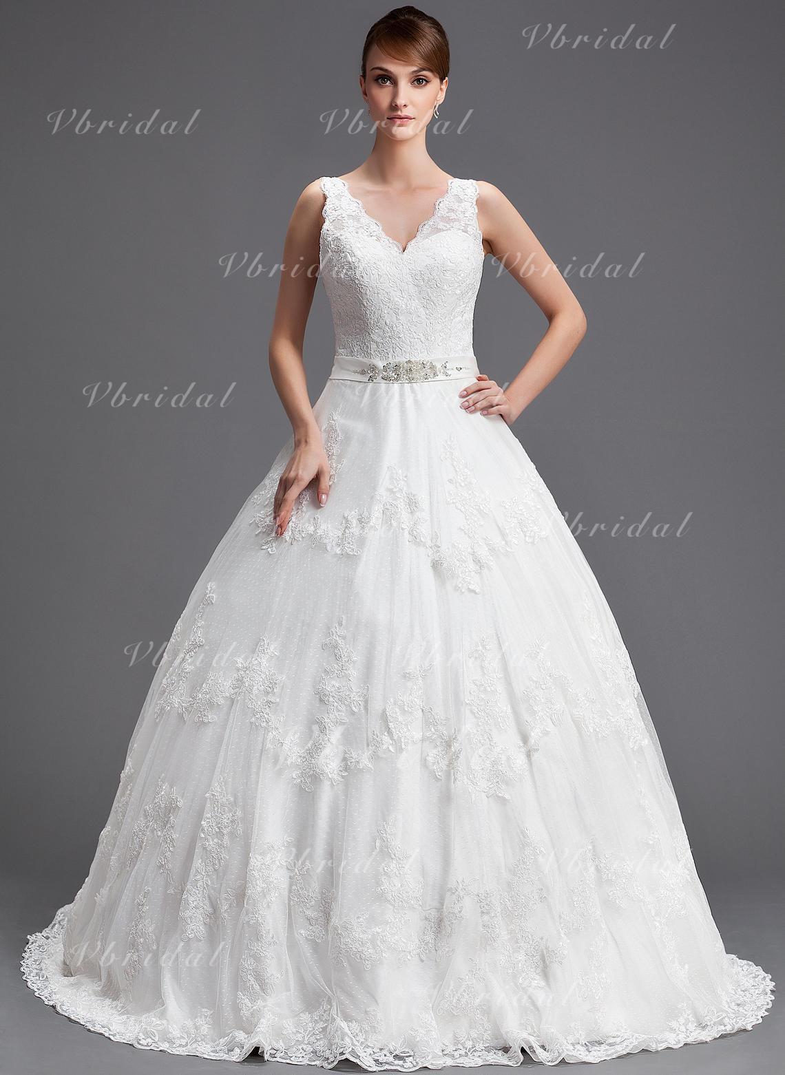 7a7b46c0c138 Balklänning V-ringning Chapel släp Tyll Bröllopsklänning med Pärlbrodering  Applikationer Spetsar Paljetter (002004754)