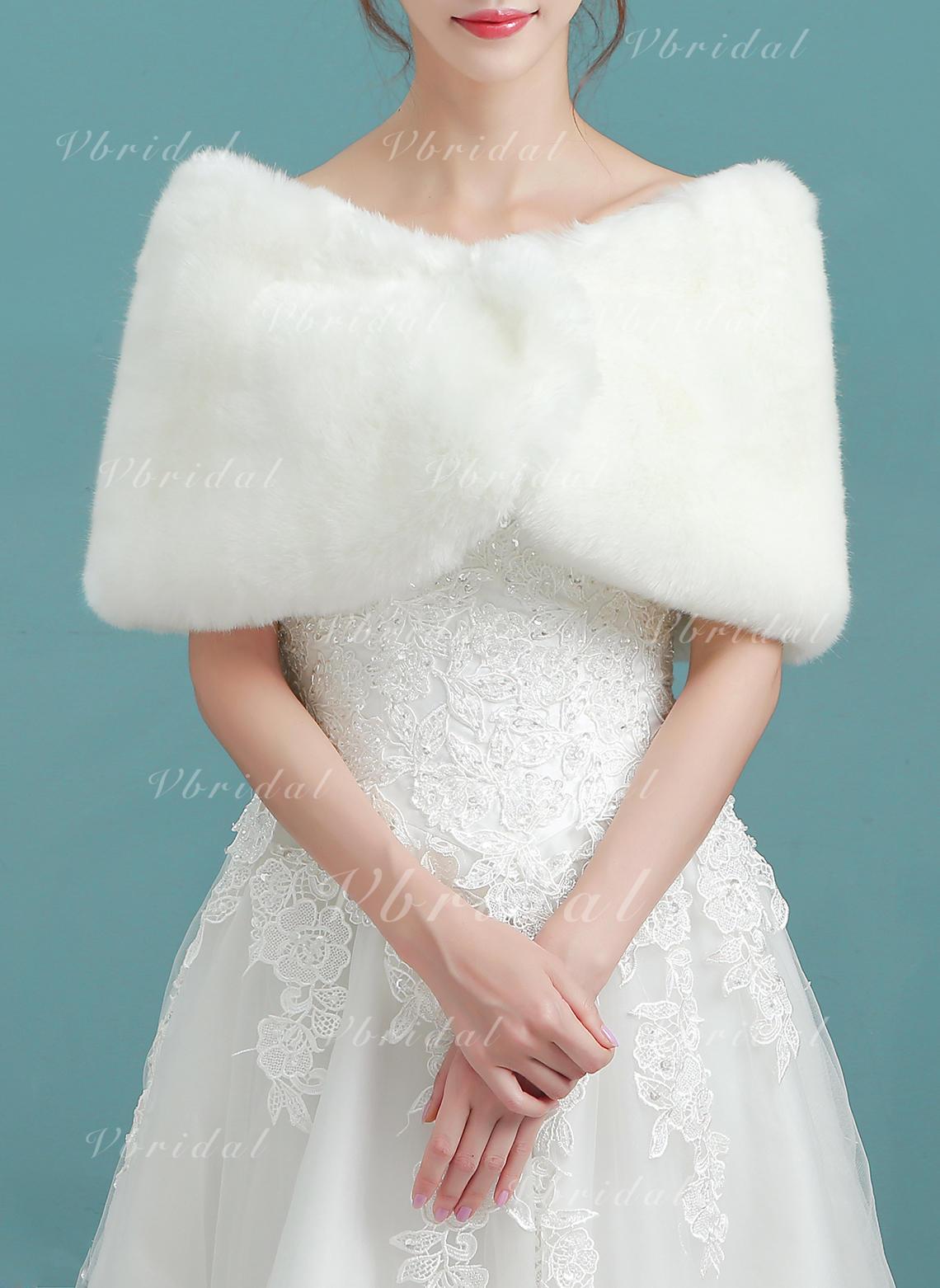 new product bd201 006cc Coprispalle Matrimonio Pelliccia ecologica Avorio ...