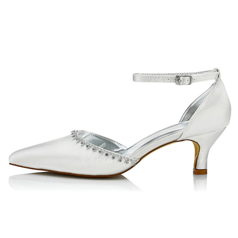b42730aae11 Women s Pumps Dyeable Shoes Low Heel Satin With Rhinestone Wedding Shoes  (047206057)