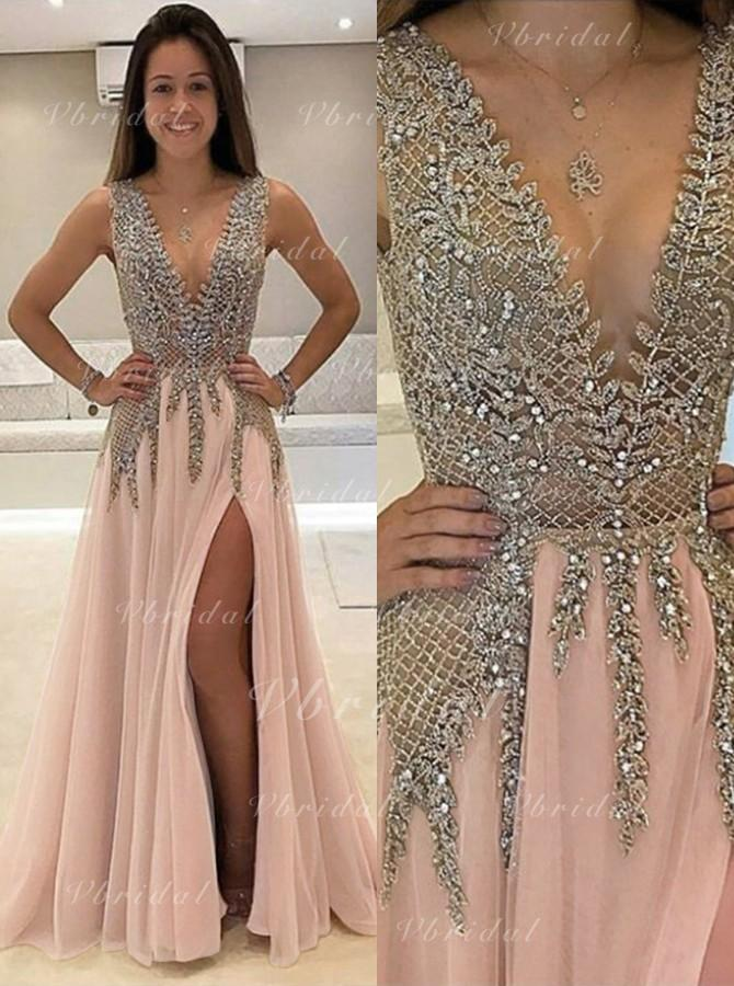 f75c0438d49d A-Line/Princess V-neck Floor-Length Chiffon Prom Dress With Beading Split  Front (018146496)