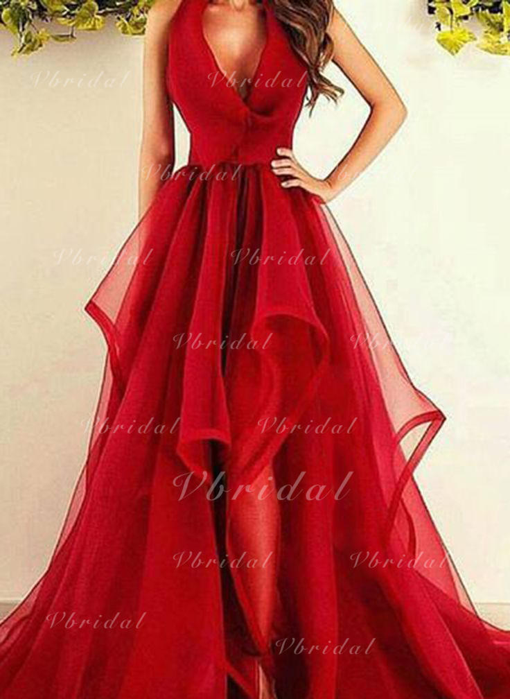 4e12982deb24 A-Line/Princess V-neck Asymmetrical Sweep Train Tulle Prom Dress With  Ruffle (002148405)