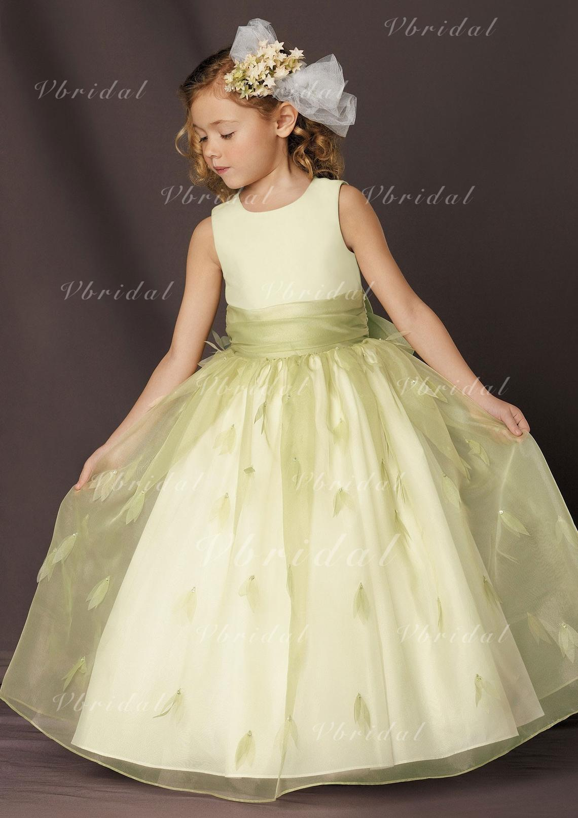 Ball Gown Scoop Neck Floor Length With Sash Organza Flower Girl