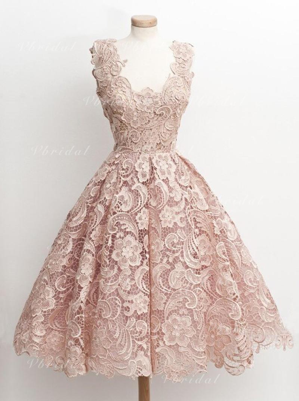 Corte A/Princesa Escote en V Corto/Mini Vestido de noche con Encaje ...