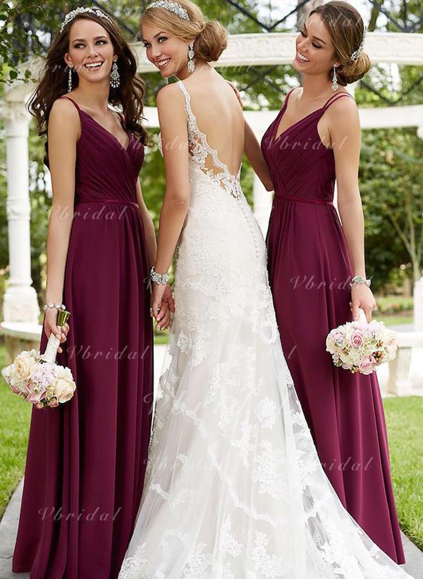 c90e9aa337456 A-Line/Princess V-neck Floor-Length Chiffon Bridesmaid Dress With Ruffle  (007145063)