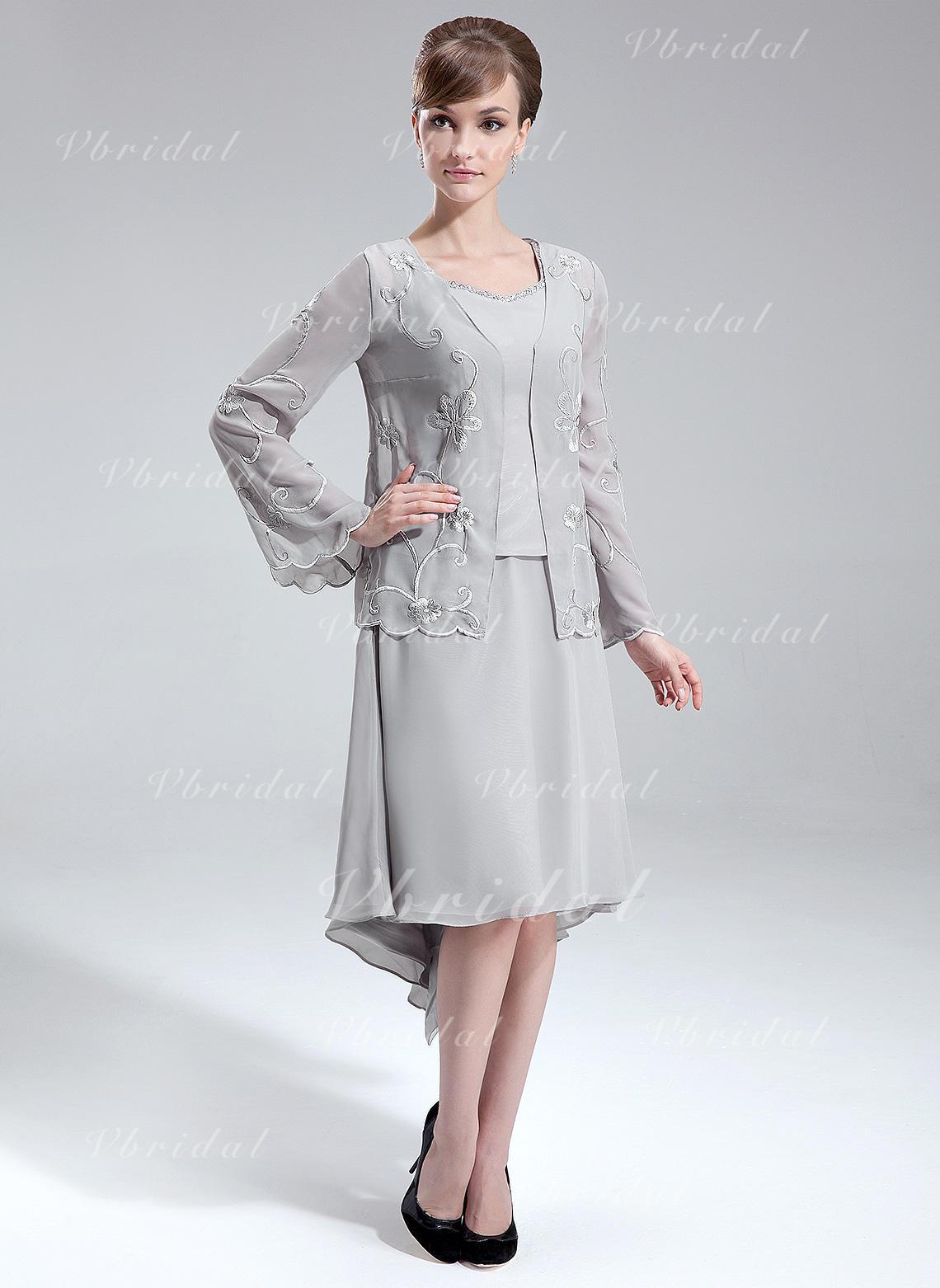 d6f68c05c8d Forme Princesse Col V Traîne asymétrique Mousseline Robe de mère de la  mariée avec Emperler (008006093)