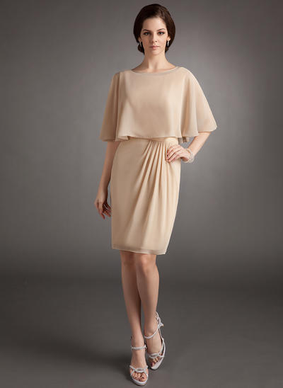 Sheath/Column Scoop Neck Chiffon Sleeveless Knee-Length Ruffle Mother of the Bride Dresses (008006129)