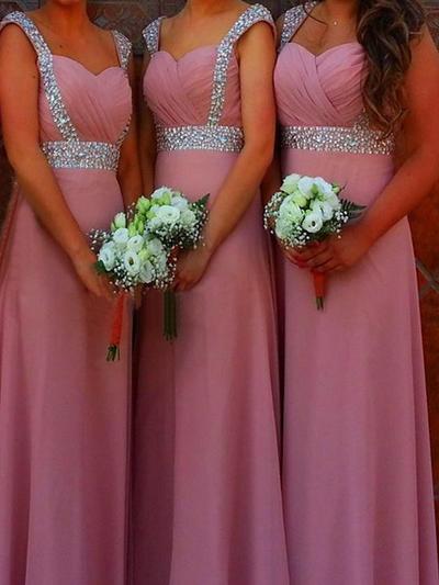 Chiffon Sleeveless A-Line/Princess Bridesmaid Dresses Sweetheart Ruffle Beading Floor-Length (007144991)