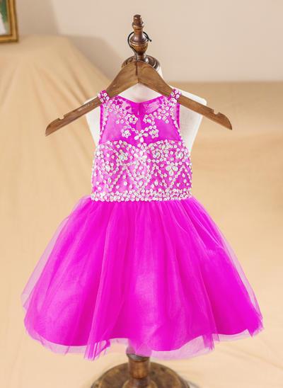 Chic Knee-length A-Line/Princess Flower Girl Dresses Scoop Neck Organza Sleeveless (010212160)