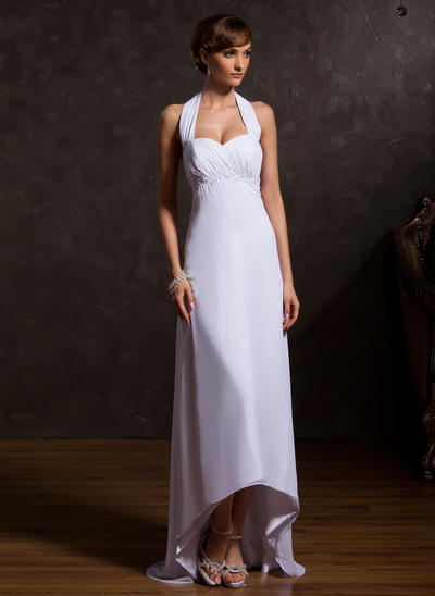 Empire Halter Chiffon Sleeveless Asymmetrical Ruffle Beading Mother of the Bride Dresses (008211065)