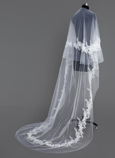 Cathedral Bridal Veils Tulle One-tier Drop Veil/Rectangular With Cut Edge Wedding Veils (006151054)