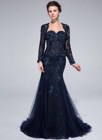 Trumpet/Mermaid Sweetheart Tulle Lace Sleeveless Sweep Train Beading Flower(s) Evening Dresses (017201065)
