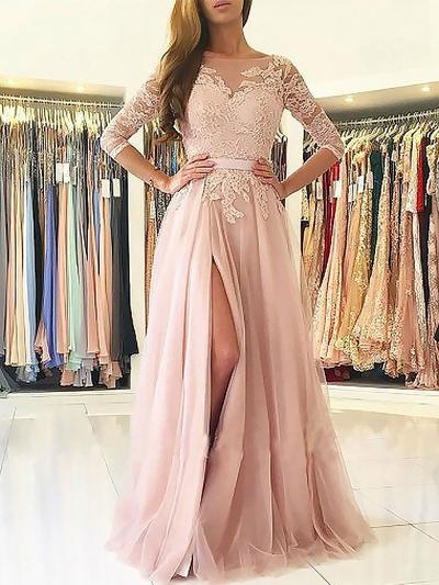 Tulle 3/4 Sleeves A-Line/Princess Prom Dresses Scoop Neck Appliques Lace Sweep Train (018210926)