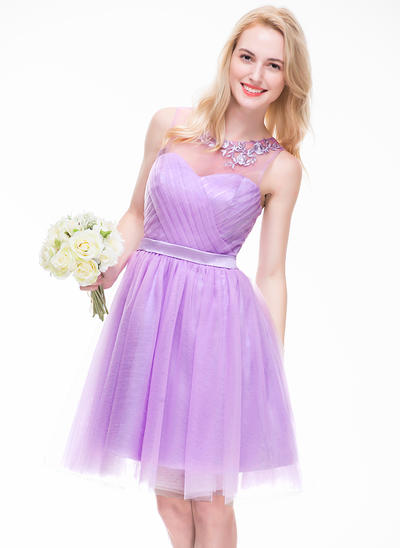 Tulle Sleeveless A-Line/Princess Bridesmaid Dresses Scoop Neck Ruffle Beading Appliques Lace Sequins Knee-Length (007072796)