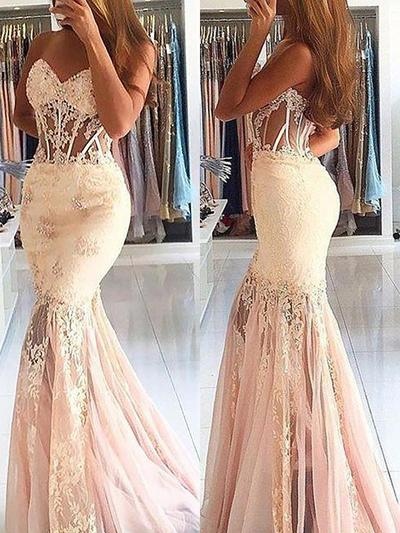 Tulle Sleeveless Trumpet/Mermaid Prom Dresses Sweetheart Lace Beading Sweep Train (018148458)