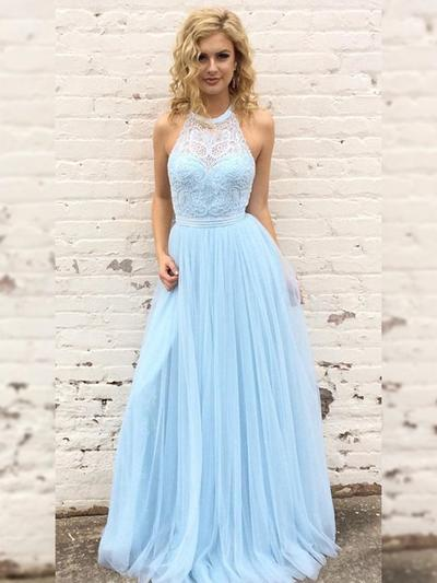 Tulle Sleeveless A-Line/Princess Prom Dresses Scoop Neck Lace Floor-Length (018219251)