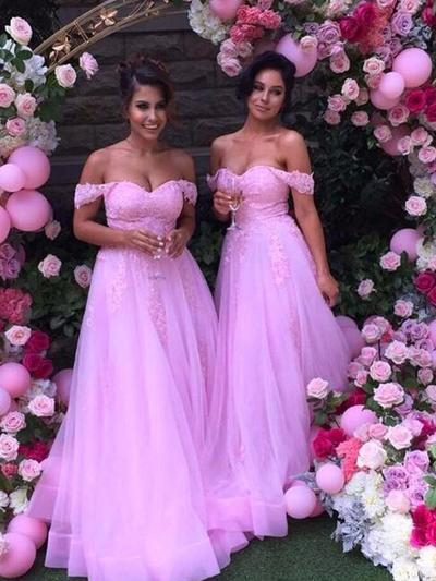 Tulle Lace Sleeveless A-Line/Princess Bridesmaid Dresses Off-the-Shoulder Floor-Length (007144972)