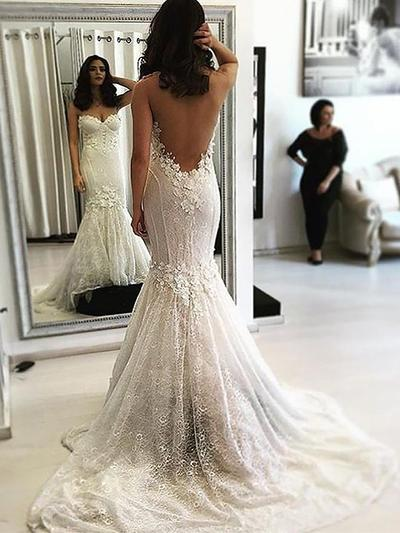 Fashion Sweep Train Trumpet/Mermaid Wedding Dresses Sweetheart Lace Sleeveless (002148022)
