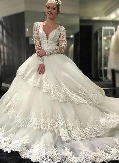 Mode Königliche Schleppe Duchesse-Linie Brautkleider Deep V Neck V Tüll Lace Lange Ärmel (002146243)