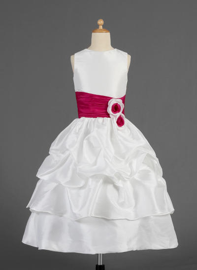 Newest Tea-length A-Line/Princess Flower Girl Dresses Scoop Neck Taffeta Sleeveless (010014623)