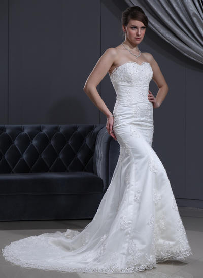 Magnificent Chapel Train Trumpet/Mermaid Wedding Dresses Sweetheart Satin Sleeveless (002000167)