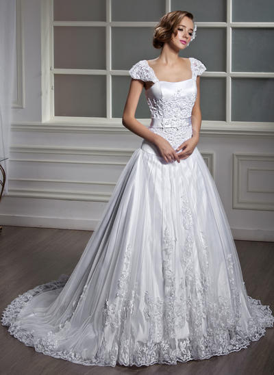 Modern Court Train A-Line/Princess Wedding Dresses Square Tulle Short Sleeves (002196871)