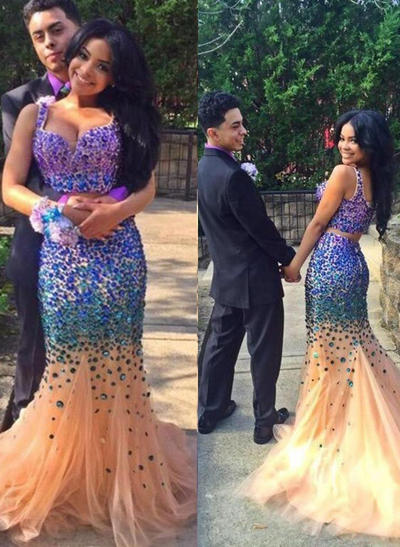 Tulle Sleeveless Trumpet/Mermaid Prom Dresses Sweetheart Beading Sweep Train (018146553)