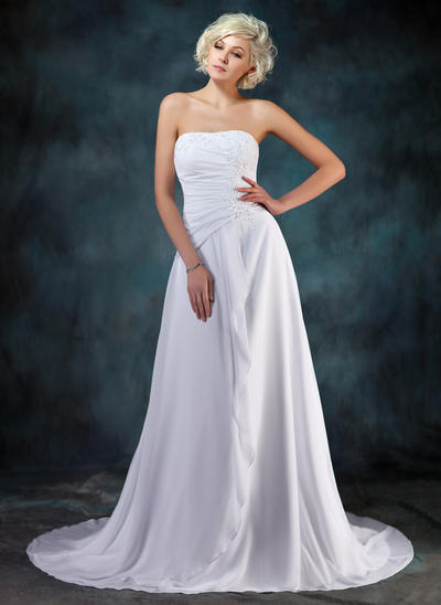 Simple Court Train A-Line/Princess Wedding Dresses Sweetheart Chiffon Sleeveless (002210457)