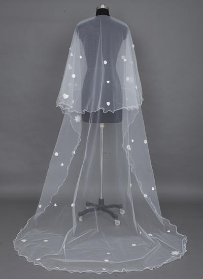 Cathedral Bridal Veils Tulle One-tier Drop Veil With Scalloped Edge Wedding Veils (006151377)