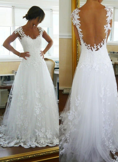 Magnificent Court Train A-Line/Princess Wedding Dresses V-neck Tulle Sleeveless (002147790)