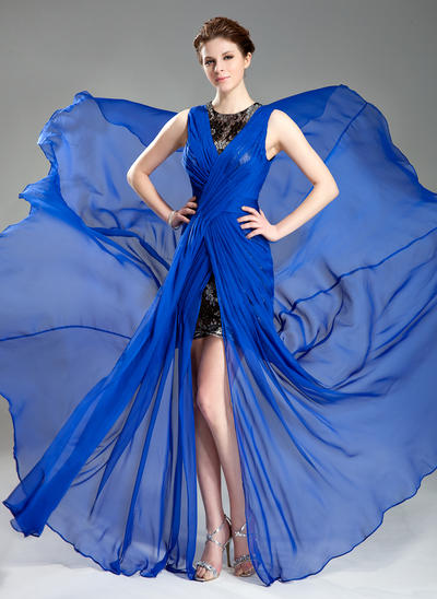 A-Line/Princess Scoop Neck Chiffon Sleeveless Court Train Ruffle Split Front Evening Dresses (017019766)