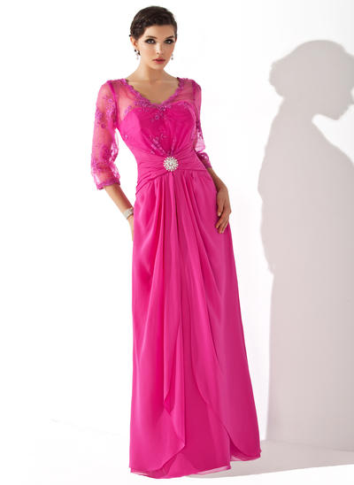 A-Line/Princess V-neck Chiffon 1/2 Sleeves Floor-Length Ruffle Cascading Ruffles Mother of the Bride Dresses (008005687)
