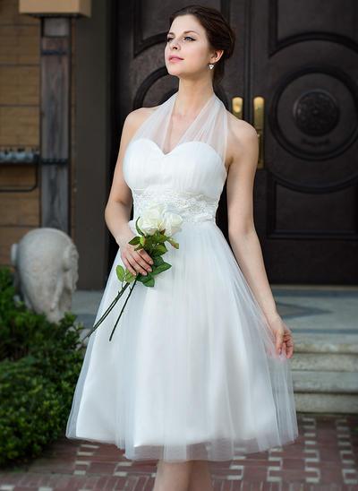 Glamorous Knee-Length A-Line/Princess Wedding Dresses Halter Charmeuse Tulle Sleeveless (002211504)