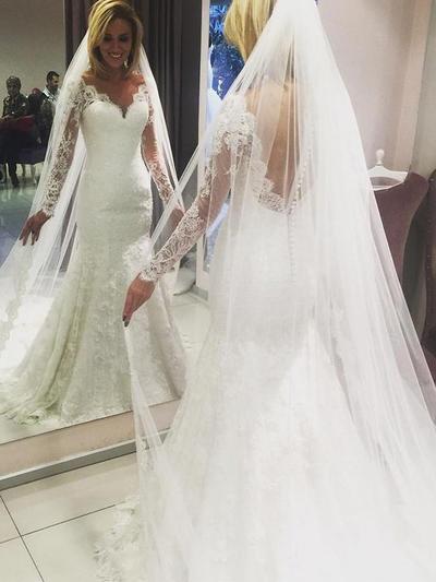 Elegant Sweep Train Sheath/Column Wedding Dresses V-neck Lace Long Sleeves (002147981)