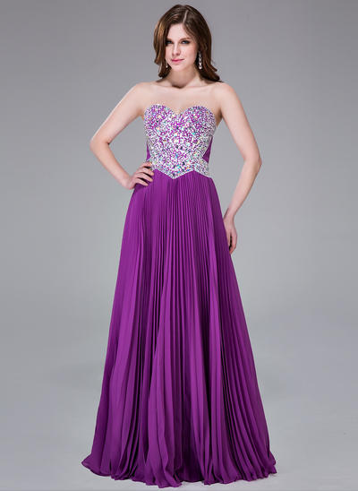 Chiffon Sleeveless A-Line/Princess Prom Dresses Sweetheart Beading Sequins Pleated Floor-Length (018041160)