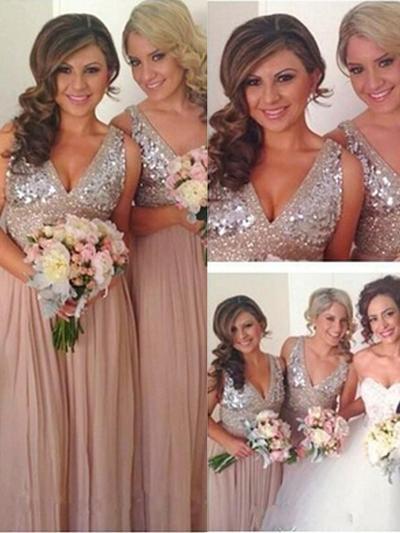 Chiffon Sequined Sleeveless A-Line/Princess Bridesmaid Dresses V-neck Floor-Length (007145045)