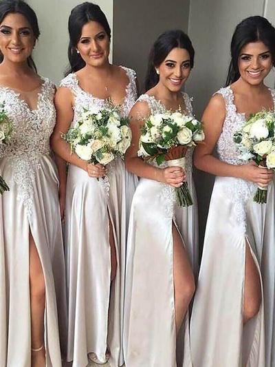 Satin Sleeveless Sheath/Column Bridesmaid Dresses V-neck Appliques Lace Floor-Length (007211574)