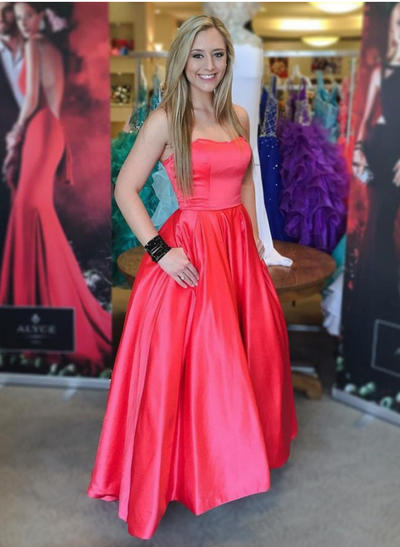 A-Line/Princess Sweetheart Satin Sleeveless Floor-Length Evening Dresses (017146106)