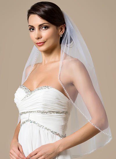 Elbow Bridal Veils Tulle One-tier With Pearl Trim Edge With Beading/Faux Pearl Wedding Veils (006151796)