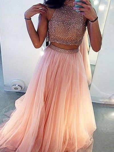 Tulle Sleeveless A-Line/Princess Prom Dresses Scoop Neck Beading Sweep Train (018145896)