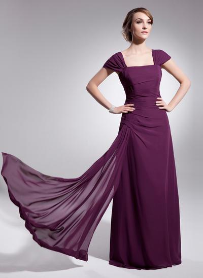 A-Line/Princess Square Neckline Chiffon Sleeveless Floor-Length Ruffle Mother of the Bride Dresses (008210422)