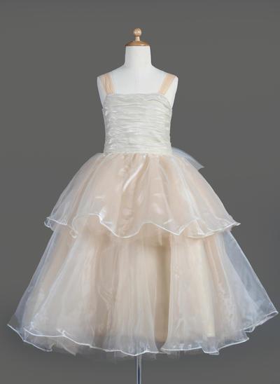 Beautiful Tea-length A-Line/Princess Flower Girl Dresses Square Neckline Organza Sleeveless (010014606)
