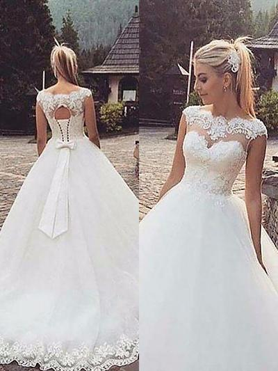 Stunning Court Train Ball-Gown Wedding Dresses Scoop Tulle Sleeveless (002147975)