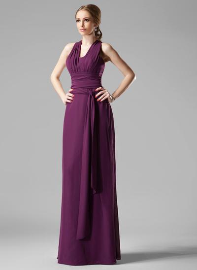 Chiffon Sleeveless Sheath/Column Bridesmaid Dresses V-neck Ruffle Floor-Length (007197400)