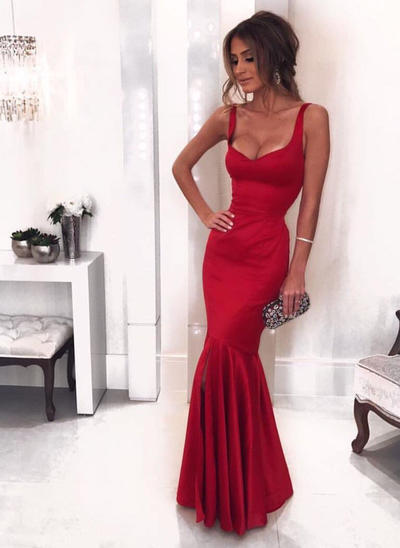 Trumpet/Mermaid V-neck Satin Sleeveless Floor-Length Evening Dresses (017146414)