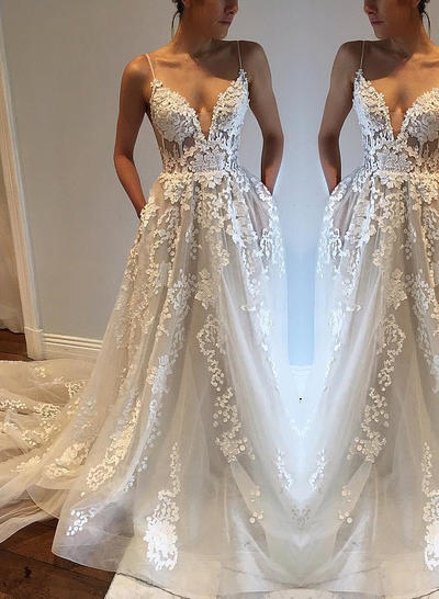 Modern Court Train A-Line/Princess Wedding Dresses Deep V Neck Tulle Sleeveless (002148007)