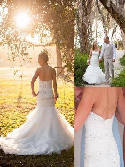 Gorgeous Court Train Trumpet/Mermaid Wedding Dresses Sweetheart Tulle (002210907)