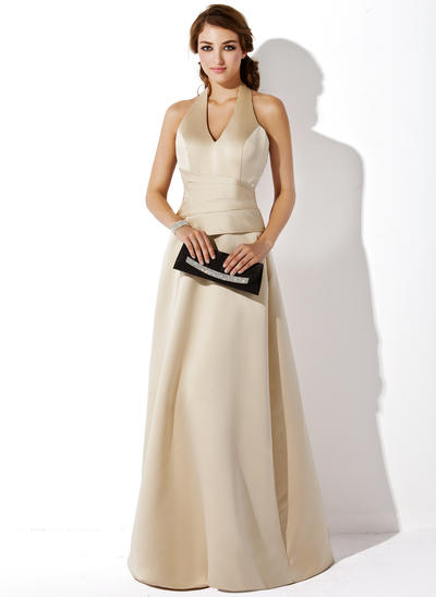 Satin Sleeveless A-Line/Princess Bridesmaid Dresses Halter Floor-Length (007197272)