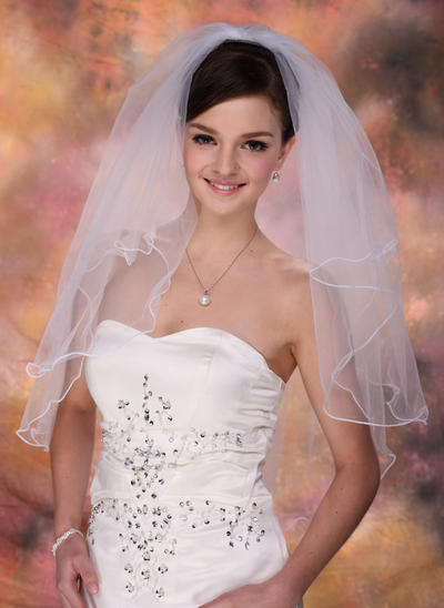 Elbow Bridal Veils Tulle Two-tier Classic With Scalloped Edge Wedding Veils (006150821)